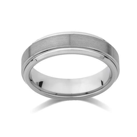 Gray Brushed Tungsten Ring - Pipe Cut - 6mm - High Polish Stepped Edge - Engagement Ring