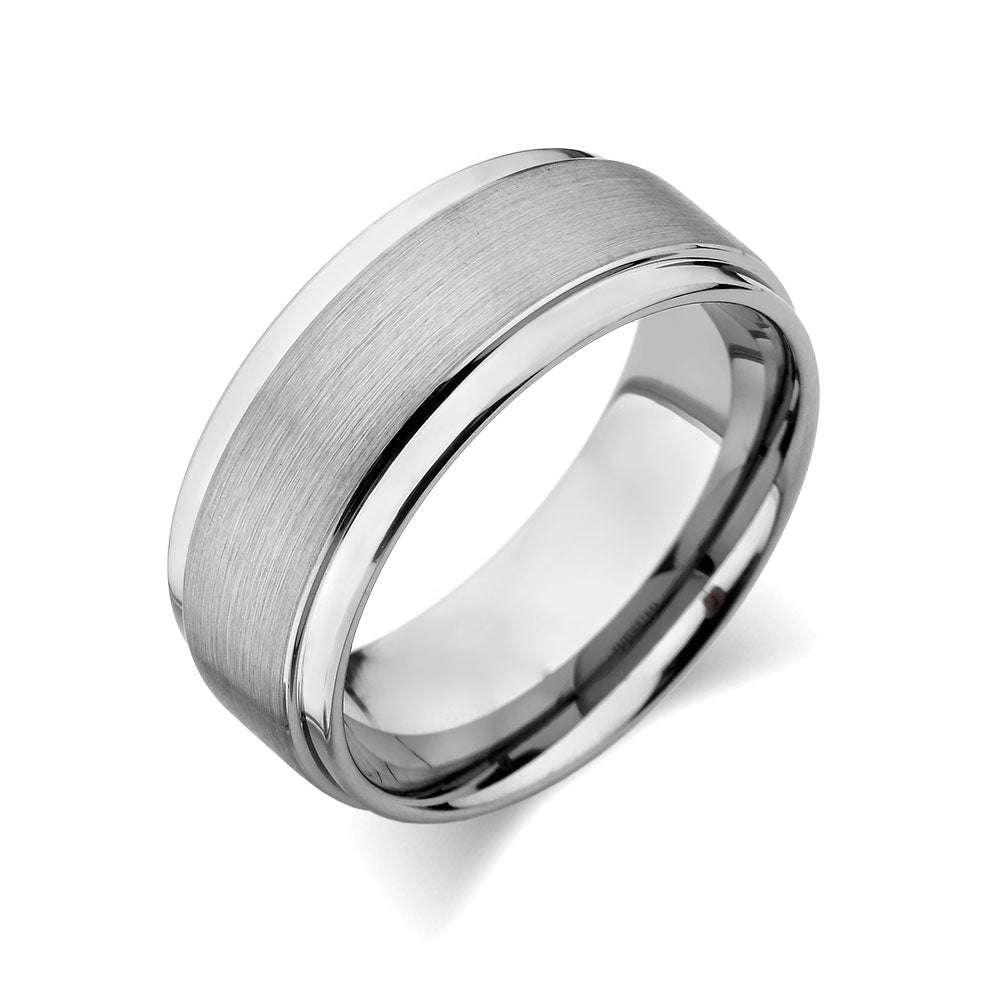 Gray Brushed Tungsten Ring - Gunmetal - 9mm - High Polish Stepped Edge - Engagement Ring - LUXURY BANDS LA