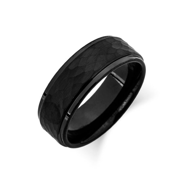 Black Hammered Finish Tungsten Wedding Band - Brushed Black Mens Ring - 8MM - Tungsten Carbide - LUXURY BANDS LA