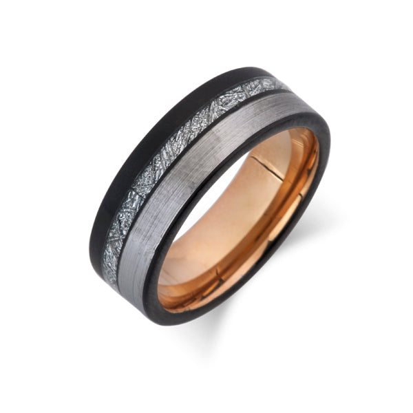 Meteorite Tungsten Wedding Band - Rose Gold Ring - 8mm - Brushed Gray - Unique Mens Ring - LUXURY BANDS LA