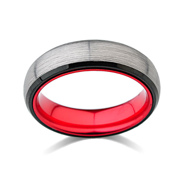 Red Tungsten Wedding Band - Gray Brushed Ring - 6mm Red Ring - Unique New Design - Engagement Band - Comfort Fit - LUXURY BANDS LA
