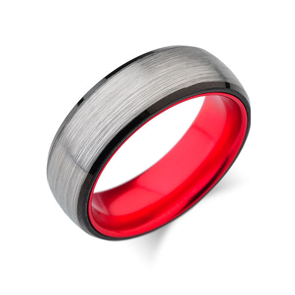Red Tungsten Wedding Band - Gray Brushed Ring - 8mm Red Ring - Unique New Design - Engagement Band - Comfort Fit - LUXURY BANDS LA