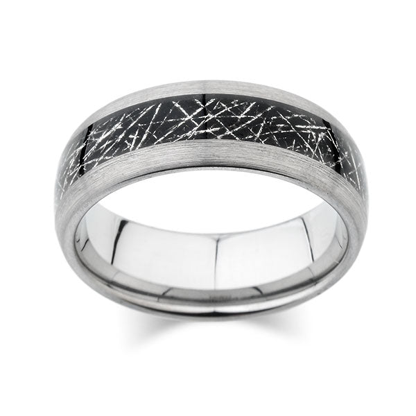 Meteorite Inlay Ring - Brushed Gray - Tungsten Wedding Band - 8mm - New - Unique Design- Engagement Band - Comfort Fit - LUXURY BANDS LA