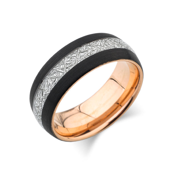 Rose Gold Tungsten Wedding Band - Black Brushed Meteorite - Tungsten Engagement Ring - 8mm Ring - Unique Band - Comfort Fit