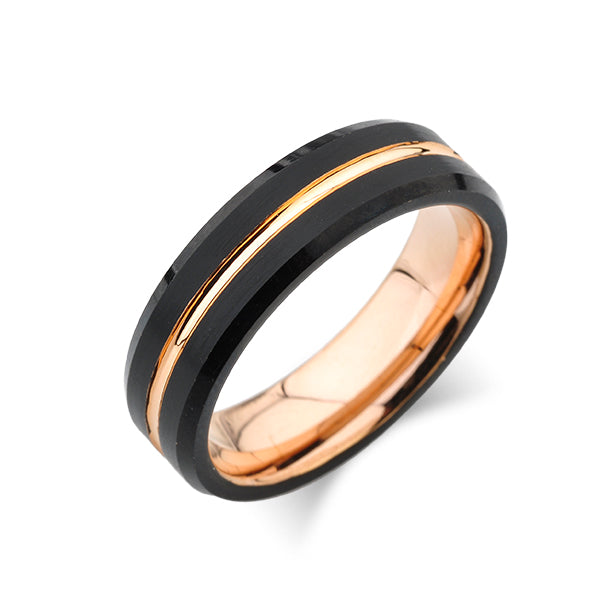 Rose Gold Tungsten Wedding Band - Black Brushed Tungsten Ring - Beveled Edges - 6mm - Unisex - Unique - Engagement Band - Comfort Fit - LUXURY BANDS LA