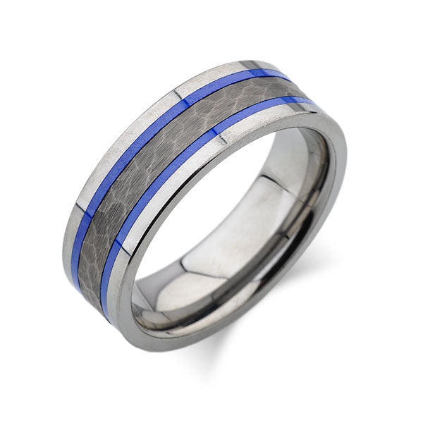 Blue Tungsten Wedding Band - Silver Hammered Tungsten Ring - 8mm - Mens Ring - Tungsten Carbide - Engagement Band - Comfort Fit - LUXURY BANDS LA