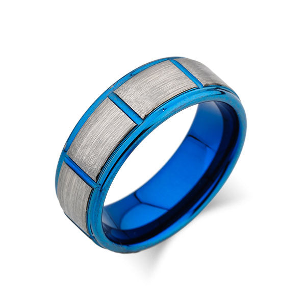Blue Tungsten Wedding Band - Gray Brushed Tungsten Ring - 8mm - Mens Ring - Tungsten Carbide - New Unique Design -Engagement Band - Comfort Fit - LUXURY BANDS LA