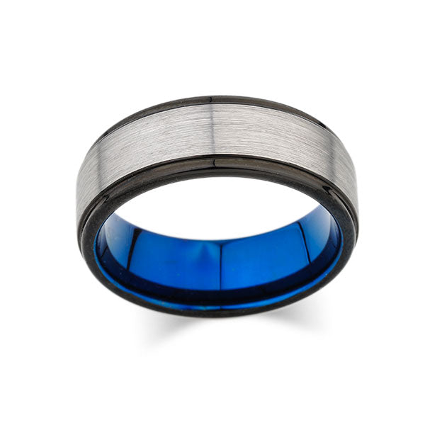 Blue Tungsten Wedding Band - Gray Brushed Tungsten Ring - Black Stepped Edges - 8mm - Mens Ring - Tungsten Carbide - Engagement Band - Comfort Fit - LUXURY BANDS LA