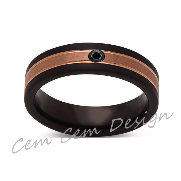 6mm,Unique,Black Diamond,Brushed Rose Gold, Black Brushed,Tungsten Ring,Mens Wedding Band,Comfort Fit - LUXURY BANDS LA