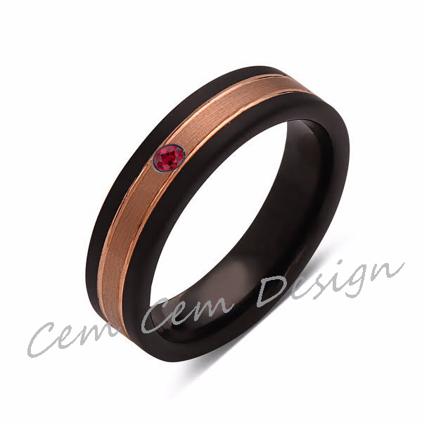 6mm,Unique,Red Ruby,Brushed Rose Gold, Black Brushed,Tungsten Ring,Mens Wedding Band,Comfort Fit - LUXURY BANDS LA