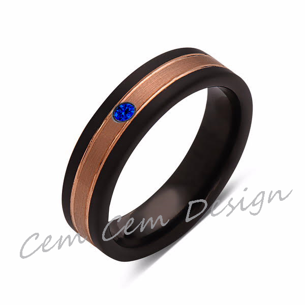 6mm,Unique,Blue Sapphire,Brushed Rose Gold, Black Brushed,Tungsten Ring,Mens Wedding Band,Comfort Fit - LUXURY BANDS LA