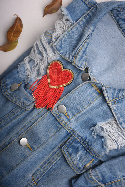 RED HEART SHAPE BROOCH