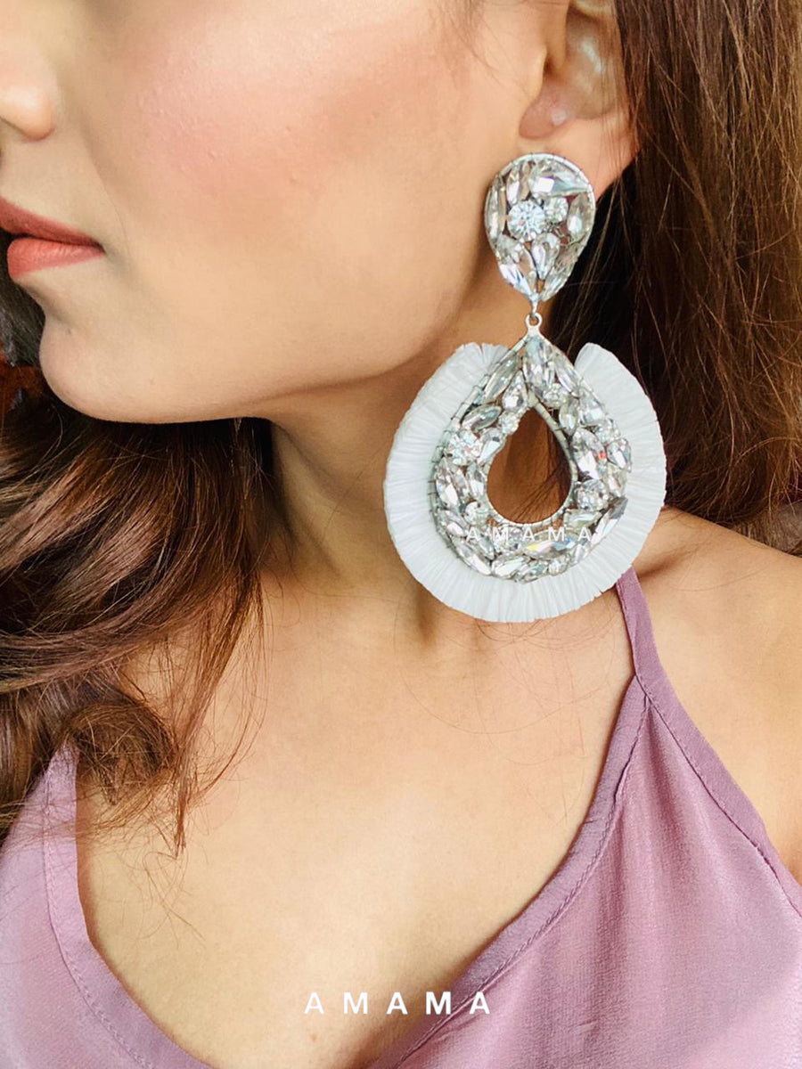Crystal with White Rafia Earrings
