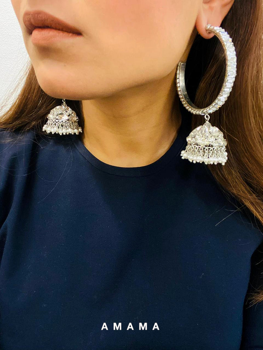 Crystal Hoops Jhumka Earrings