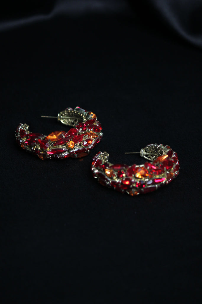 Red Crystal Hoops Earrings
