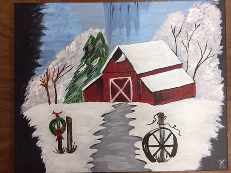 """Winter Barn""   Public Wine & Paint Class in St. Louis"
