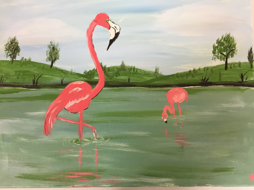 """Flamingos"" Public Wine & Paint Class in St. Louis"