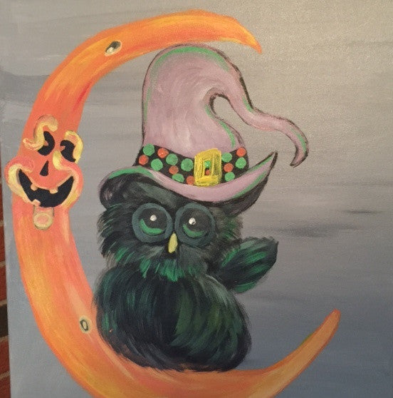 """Halloween Owl"" Public Kids Paint Class in St. Louis"
