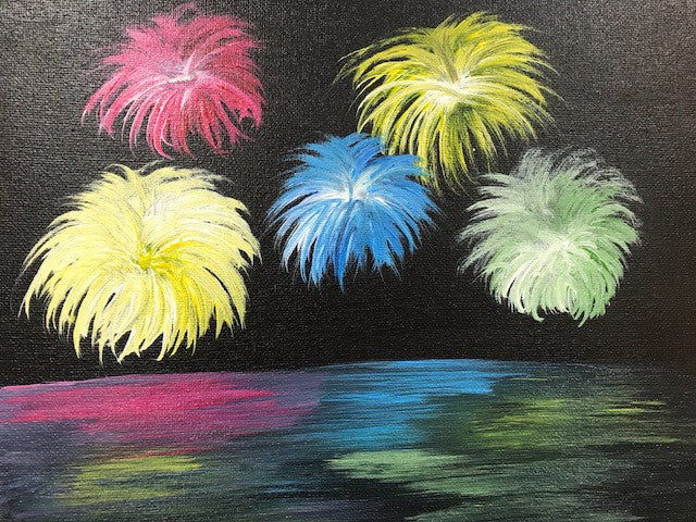 """Adult Fireworks"" Public Wine & Paint Class in St. Louis"