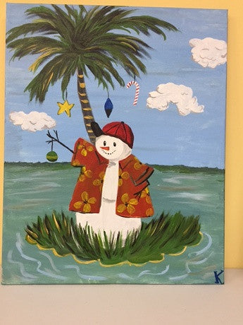 """Palm Tree Snow Man"" Public Wine & Paint Class in St. Louis"