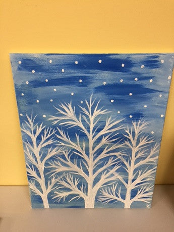 """White Trees"" Public Wine & Paint Class in St. Louis"