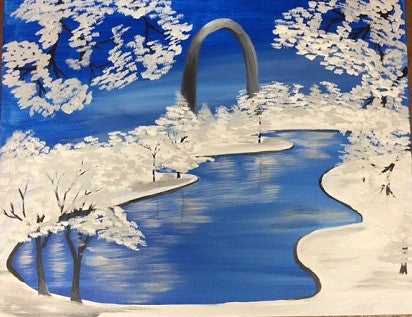 """Winter Arch"" Public Wine & Paint Class in St. Louis"