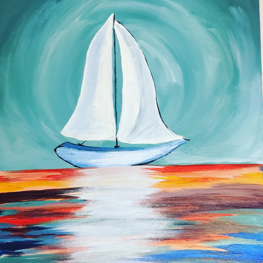 """Colorful Sailboat"" Public Wine & Paint Class in St. Louis"