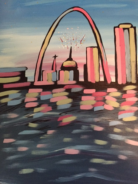 """St. Louis Arch"" Public Wine & Paint Class in St. Louis"