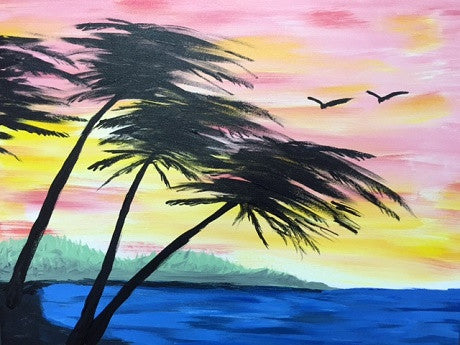 """Tropical Sunset""  Public Wine & Paint Class in St. Louis"