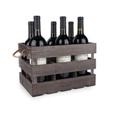 Rustic Farmhouse Wooden 6 Bottle Crate by Twine Wine Racks WinecoolerMart