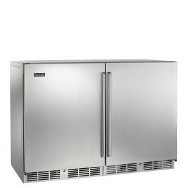 "Perlick 48"" Signature Series Single Zone Wine Reserve/Cooler - Left fully integrated solid stainless steel door, right fully integrated glass door Wine Coolers WinecoolerMart"