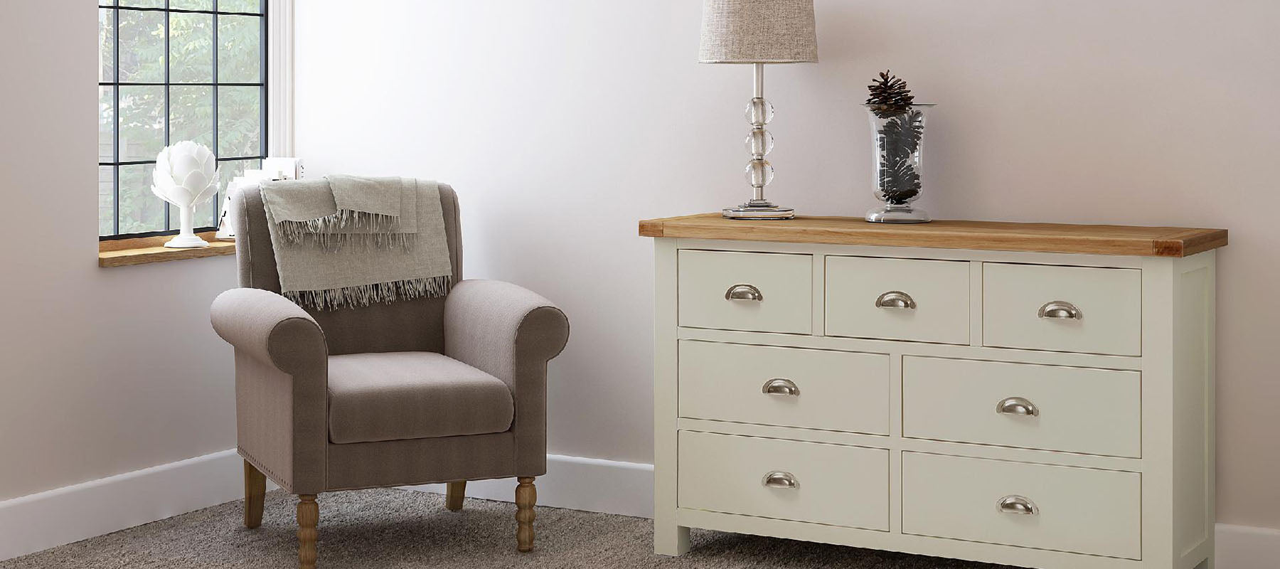 Daymer Cream sideboard with chair | Roseland Furniture