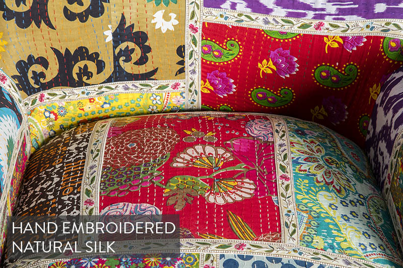 Kantha Chair with hand-Embroidered Silk Cover | Roseland Furniture