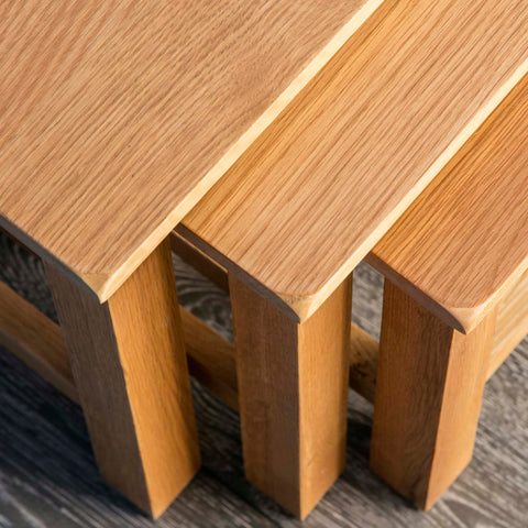 Surrey Waxed Oak Nest of Tables | Roseland Furniture