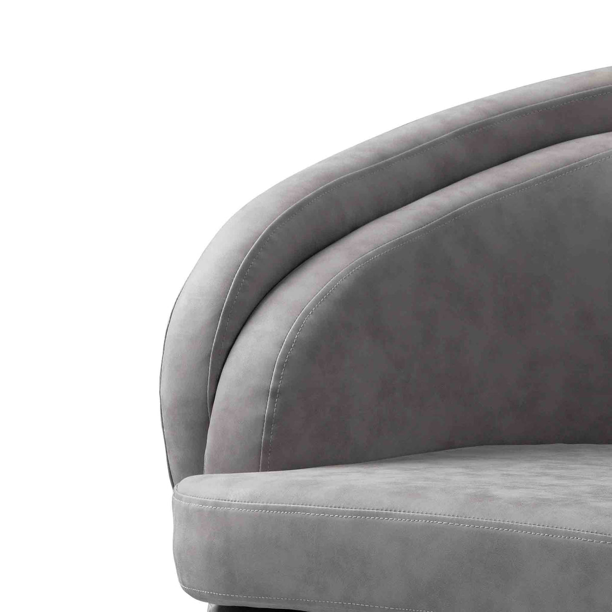 close up of faux leather padded cushion on the Bentley Grey Faux Leather Accent Chair