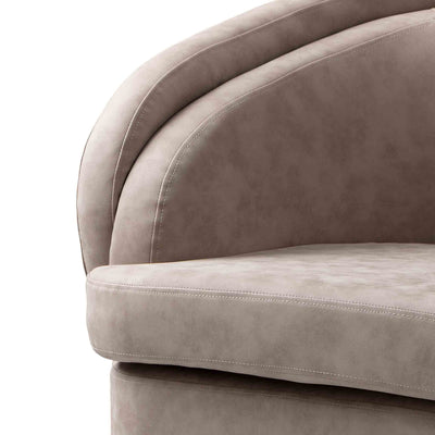 close up of the curved padded cushion on the Bentley Pewter Faux Leather Accent Chair
