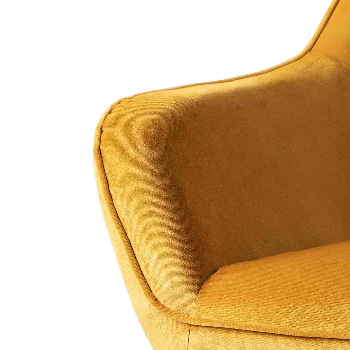 close up of the upholstered velvet fabric on the Candy Gold Velvet Accent Chair