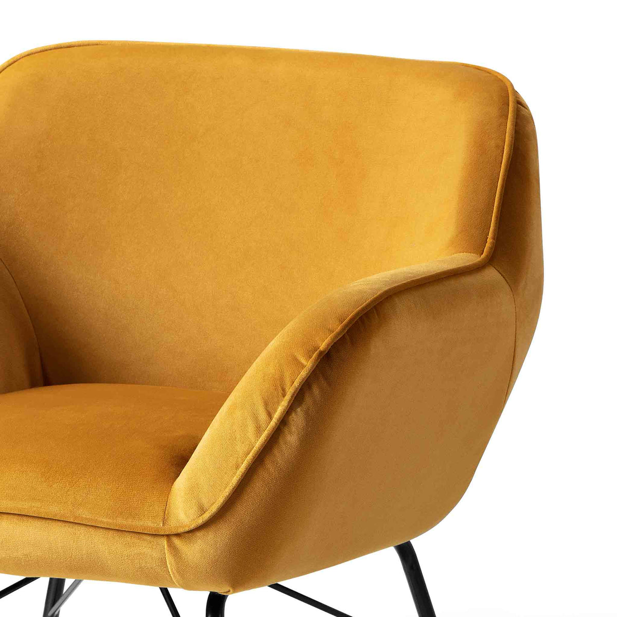 close up of the sloped backrest on the Candy Gold Velvet Accent Chair