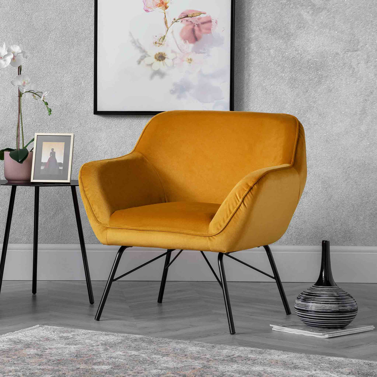 Candy Gold Velvet Accent Chair lifestyle image