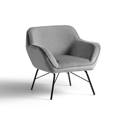 Candy Grey Velvet Accent Armchair