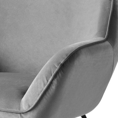 close up of padded armrests on the Candy Grey Velvet Accent Chair