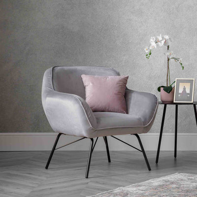 Candy Grey Velvet Accent Chair lifestyle image