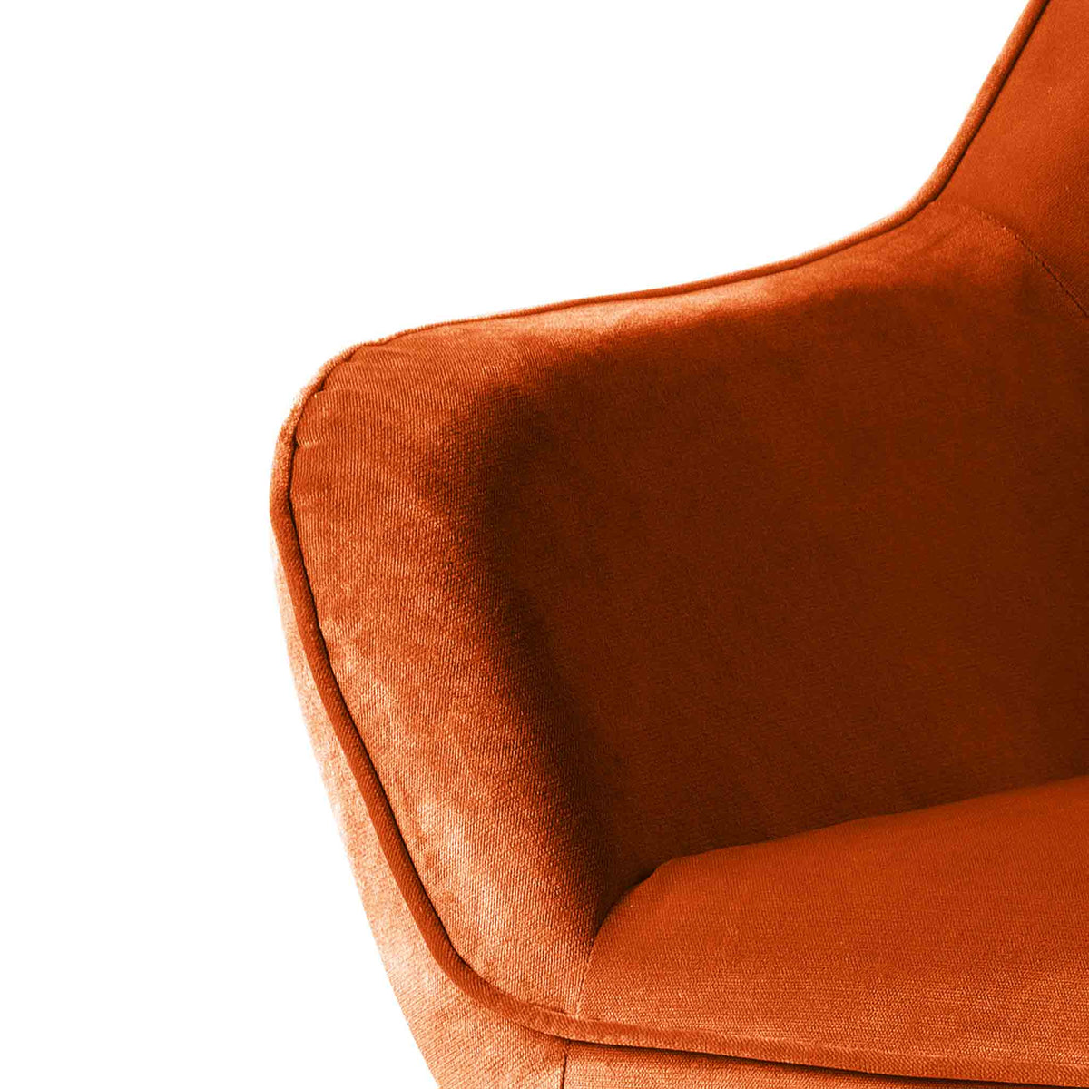close up of upholstered velvet fabric on the Candy Apricot Velvet Accent Chair