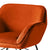close up of sloped backrest on the Candy Apricot Velvet Accent Chair