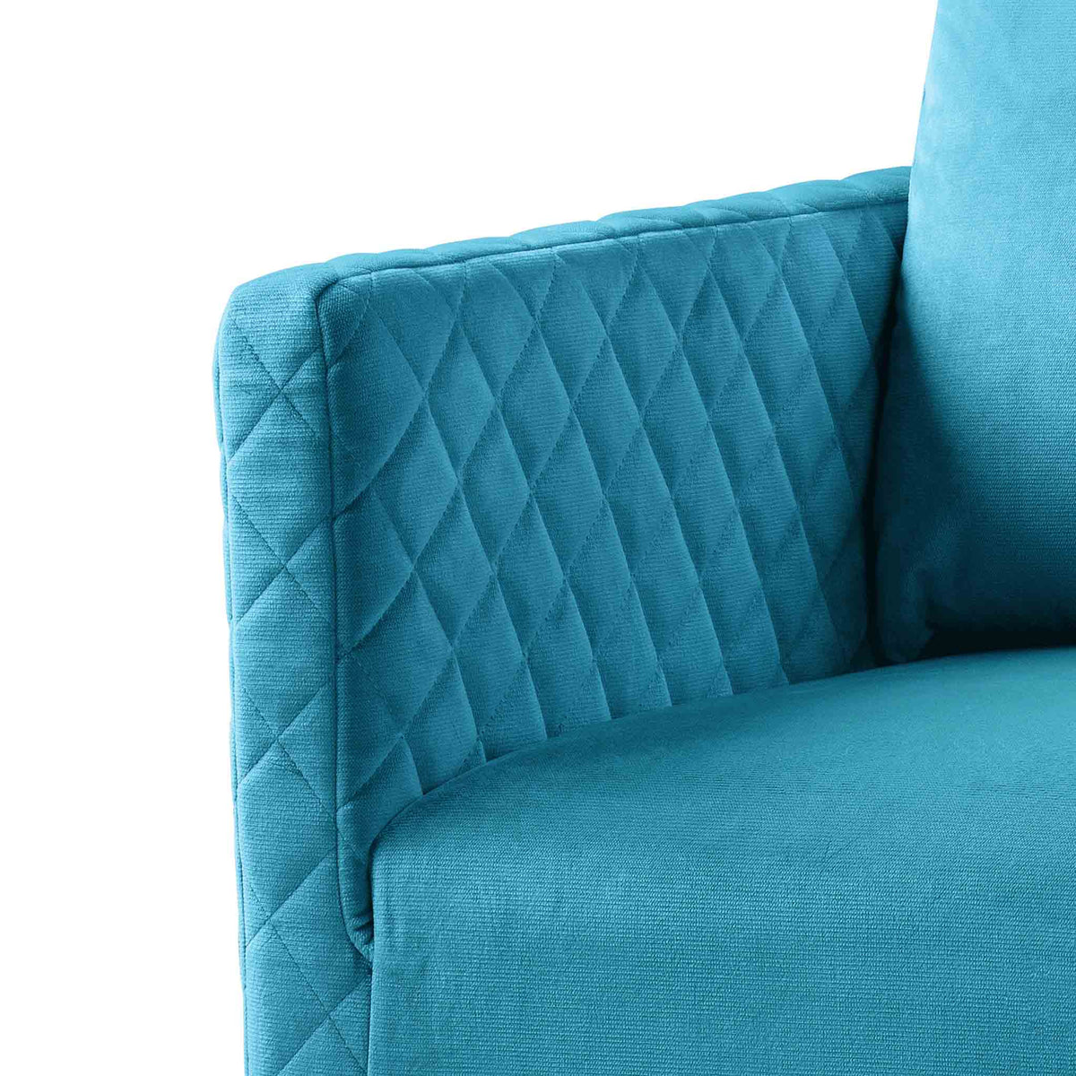 close up of the upholstered velvet fabric on the Bali Lagoon Velvet Accent Chair