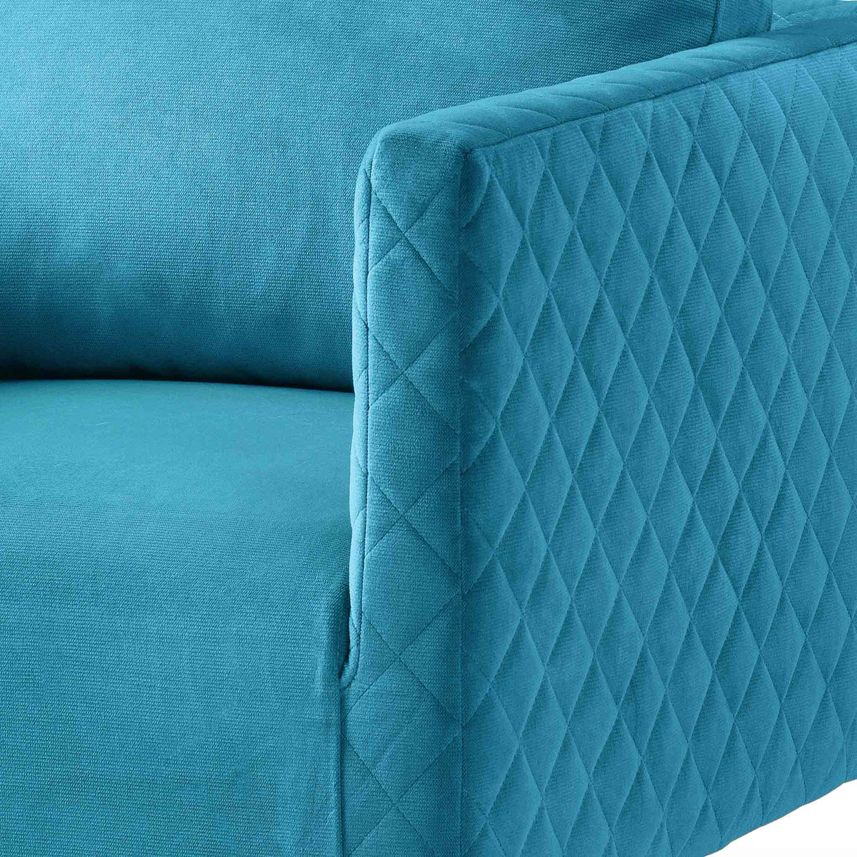 close up of the diamond stitching on the Bali Lagoon Velvet Accent Chair