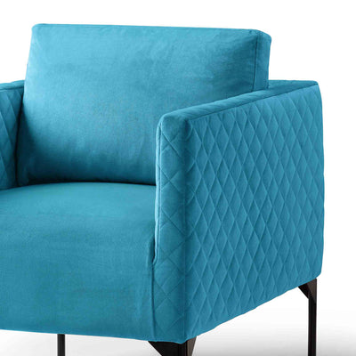 close up of the padded seat and back cushion on the Bali Lagoon Velvet Accent Chair