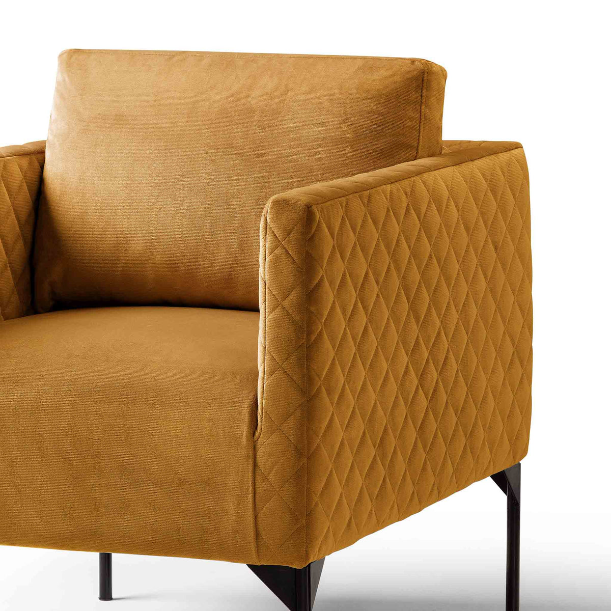 close up of the padded seat and back cushion on the Bali Gold Velvet Accent Chair