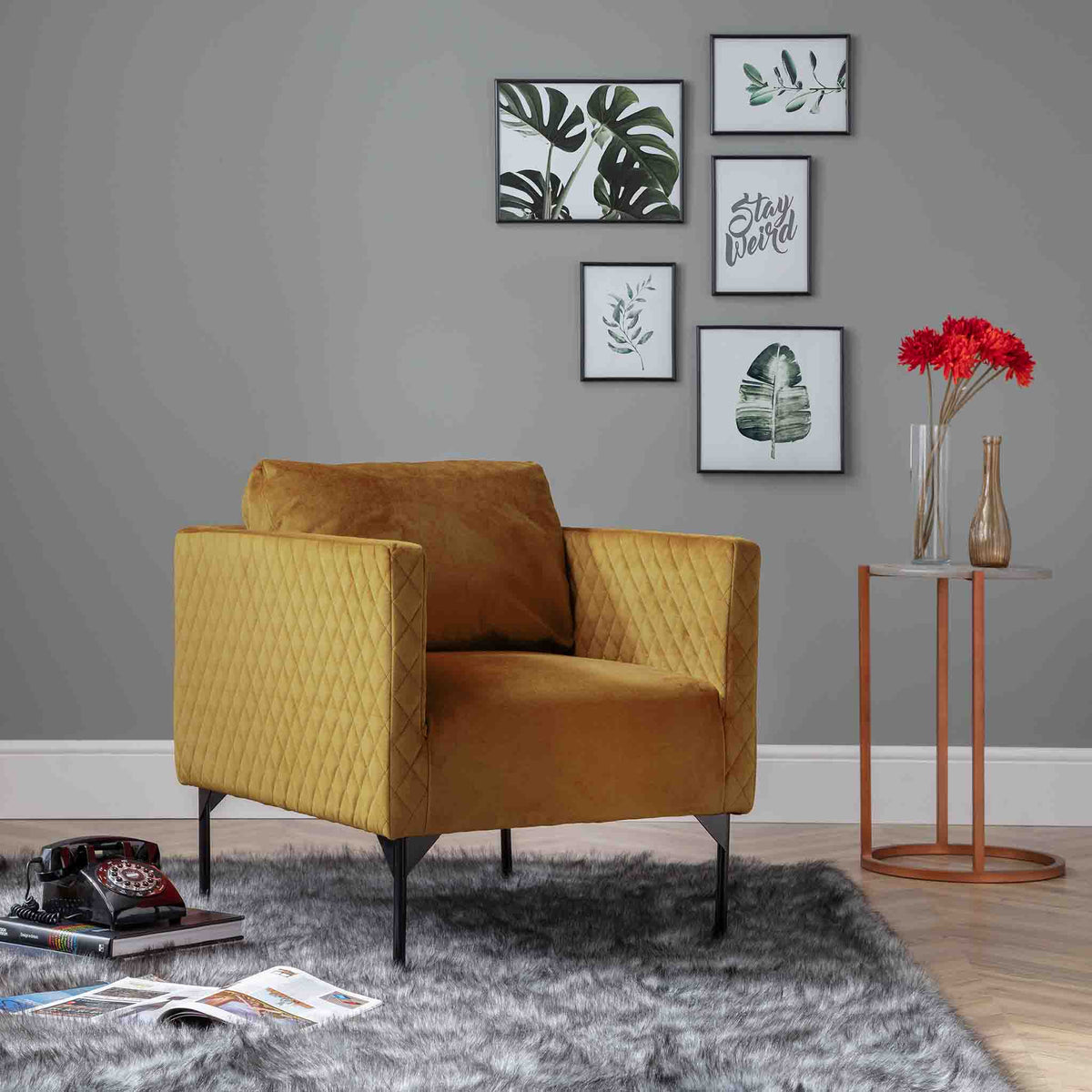 Bali Gold Velvet Accent Chair lifestyle image
