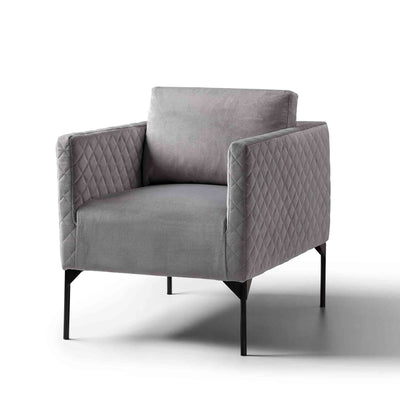 Bali Grey Velvet Accent Armchair